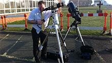 Rob Woodman setting up telescopes
